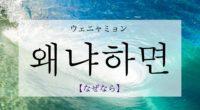 韓国語で「なぜなら・だって」の【왜냐하면(ウェニャミョン)】をタメ語で覚えよう!
