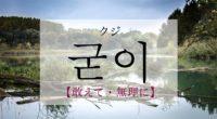 韓国語で「あえて・無理に」の【굳이(クジ)】の意味や発音は?例文は?