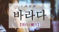 韓国語で「望む・願う」の【바라다(パラダ)】の意味や発音・例文は?タメ語で覚えよう!