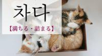 韓国語で「満ちる・詰まる」の【차다(チャダ)】の例文・活用や発音は?