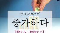 韓国語で「増える・増加する」の【증가하다(チュンガハダ)】の例文・活用や発音は?